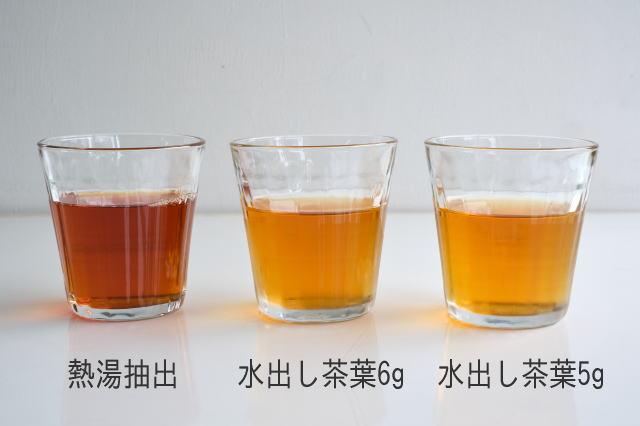 水出しと熱湯抽出の水色の違い