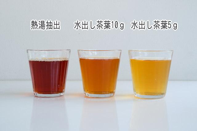 熱湯抽出・茶葉10g・茶葉5gの水色の違い