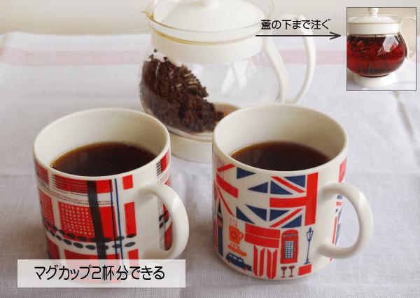 マグカップ二杯分の紅茶ができます