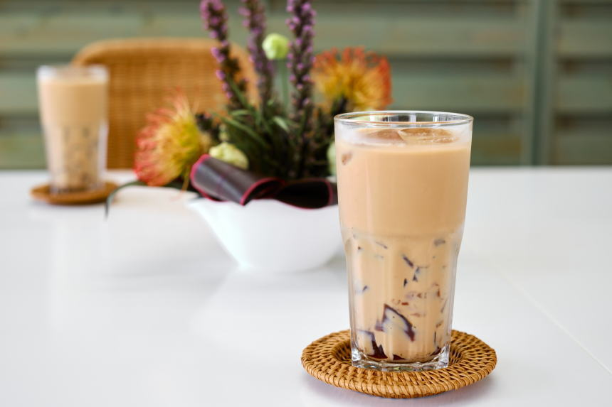 紅茶ゼリー in ミルクティー